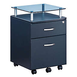 Techni Mobili Glass Top File Cabinet in Graphite