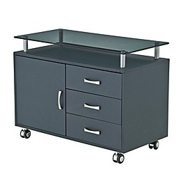 Techni Mobili 3-Drawer Glass Top Filing Cabinet in Graphite
