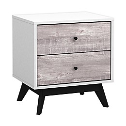 Crislana 2-Drawer Nightstand in White/Grey