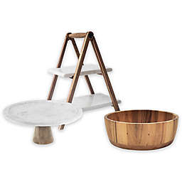 Artisanal Kitchen Supply® Marble and Wood Serveware Collection