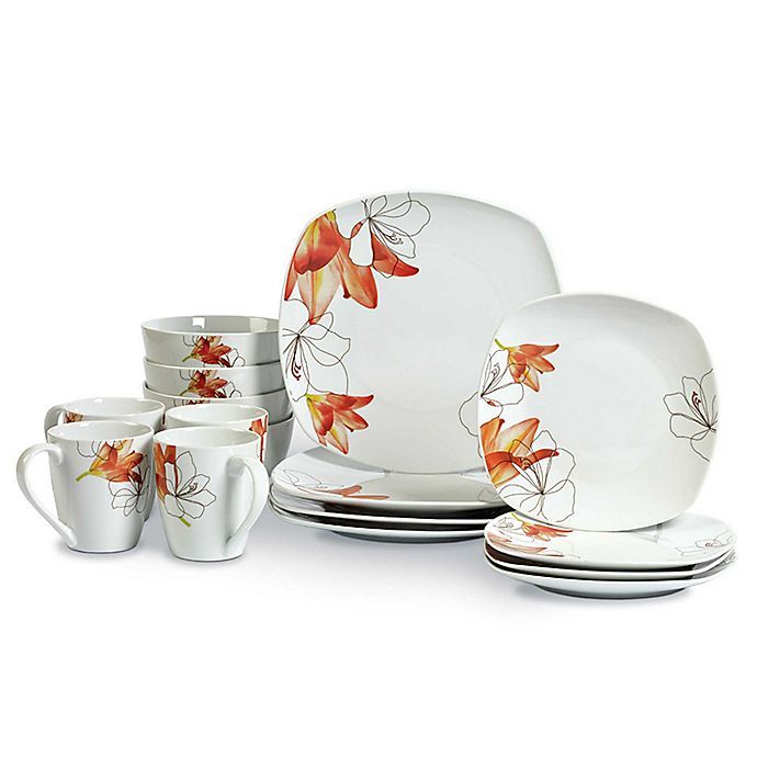 Alternate image 1 for Tabletops Unlimited® Lily Square Porcelain 16-Piece Set