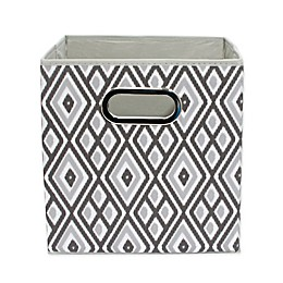 Relaxed Living Grey Ikat 11-Inch Collapsible Storage Bin