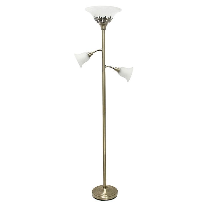 Alternate image 1 for Elegant Designs 3-Light Floor Lamp in Antique Brass with Scalloped Glass Shades