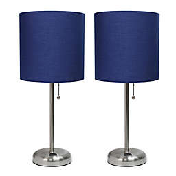 LimeLights Stick Table Lamp with Charging Outlet in Navy
