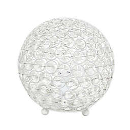 Elegant Designs Elipse 8-Inch Crystal Ball Table Lamp in White