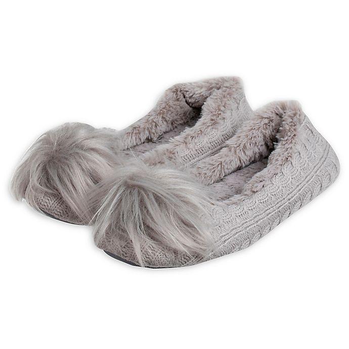 Alternate image 1 for Loft Living Large Women's Memory Foam Ballet Slippers in Grey