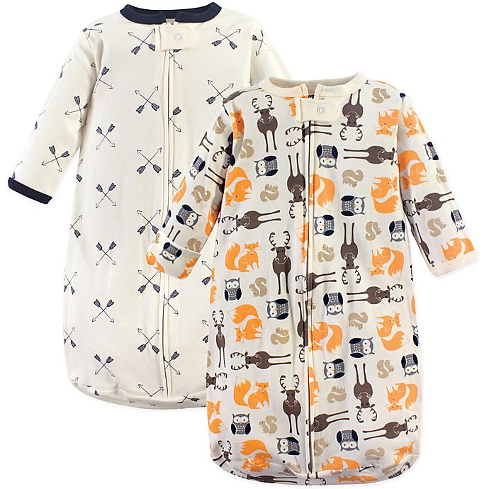 Alternate image 1 for Hudson Baby® Size 3-9M 2-Pack Forest Wearable Blankets in Orange