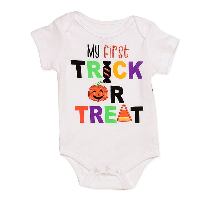 Alternate image 1 for Baby Starters® First Trick or Treat Bodysuit in White