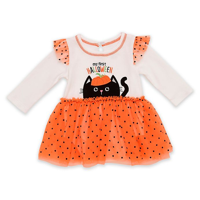 Alternate image 1 for Baby Starters® First Halloween Dress with Attached Bodysuit in Orange/Black