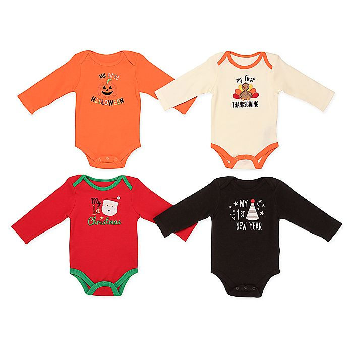 Alternate image 1 for Baby Starters® 4-Pack Fall Holiday Bodysuits