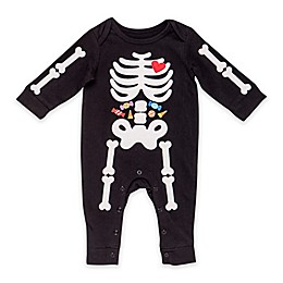 Baby Starters® Halloween Embroidered Coverall with Skeleton Design in Black