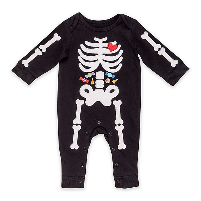 Alternate image 1 for Baby Starters® Halloween Embroidered Coverall with Skeleton Design in Black