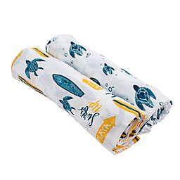 Bebe Au Lait® 2-Pack Surf and Sea Turtles Muslin Swaddle Blankets in Blue