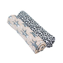 Bebe Au Lait® 2-Pack Safari and Leopard Muslin Swaddle Blankets in Tan/Black