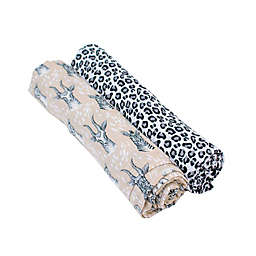 Bebe Au Lait® 2-Pack Safari and Leopard Muslin Swaddle Blankets in Tan/Black