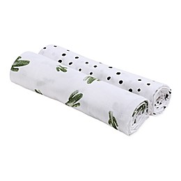 Bebe Au Lait® 2-Pack Saguaro and Dottie Muslin Swaddle Blankets in Black/White