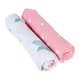 Bebe Au Lait® 2-Pack Rosy and Dewdrops Muslin Swaddle Blankets in Pink