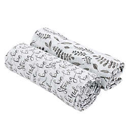 Bebe Au Lait® 2-Pack Just Be and Leaves Muslin Swaddle Blankets in Grey/White