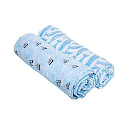 Bebe Au Lait® 2-Pack High Seas and Moby  Muslin Swaddle Blankets in Blue/White