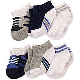 Luvable Friends® Size 12-24M 6-Pack No Show Ankle Socks in Blue