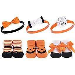 Hudson Baby® Size 0-9M 6-Piece Pumpkin Headband and Sock Gift Set