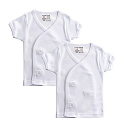 Luvable Friends Newborn 2-Pack Short Sleeve Side Snap Shirts in White