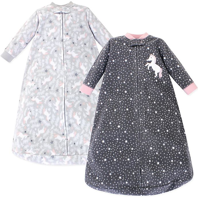 Alternate image 1 for Hudson Baby® Size 0-9M 2-Pack Unicorn Wearable Blankets in Grey