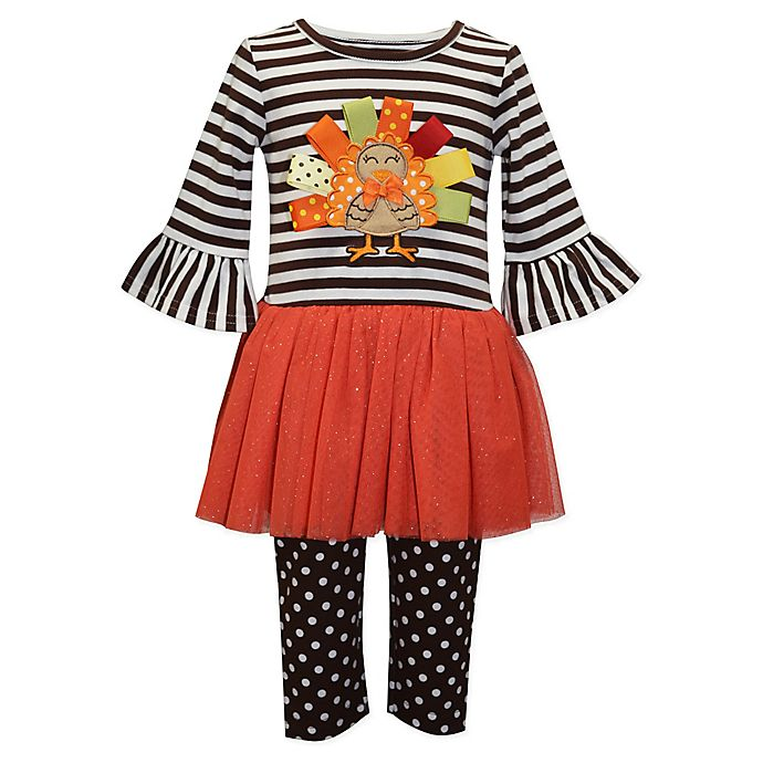 Alternate image 1 for Blueberi Boulevard 2-Piece Turkey Dress and Legging Set