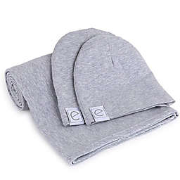 Ely's & Co.® Size 0-3M 2-Piece Cotton Swaddle and Beanie Set in Heather Grey
