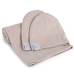 Ely's & Co.® Size 0-3M 2-Piece Cotton Swaddle and Beanie Set in Tan
