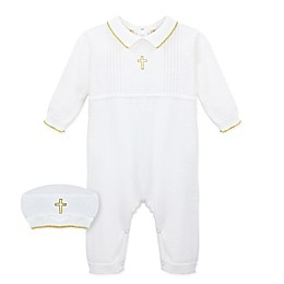 Carriage Boutique™ 2-Piece Christening Coverall and Cap Set in White