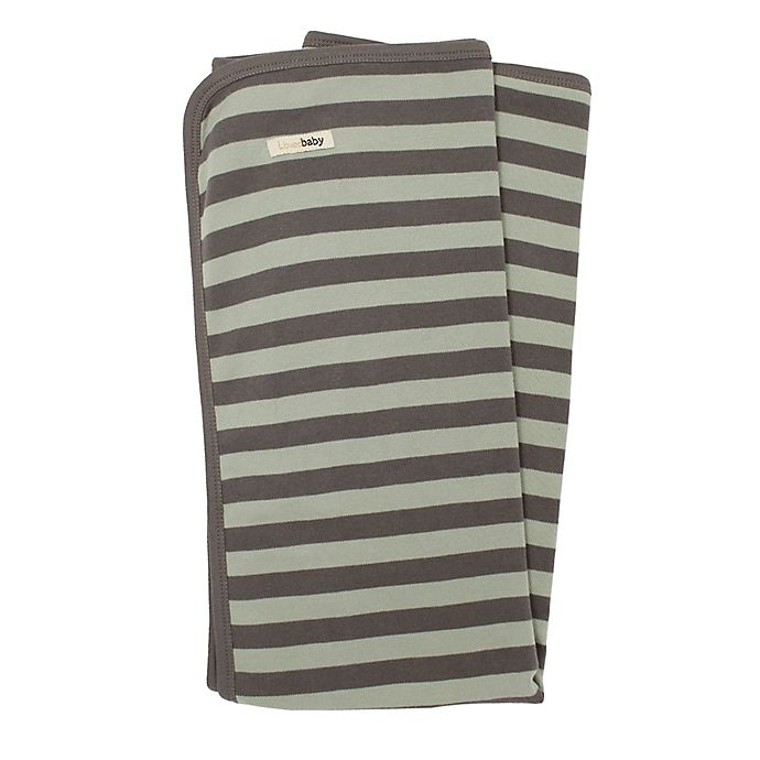 Alternate image 1 for L'ovedbaby® Organic Cotton Swaddling Blanket in Grey/Seafoam