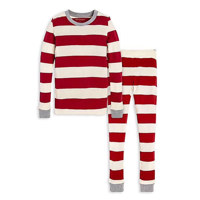 Alternate image 1 for Burt's Bees Baby® Rugby Stripe Big Kids 2-Piece Organic Cotton Pajama Set