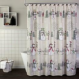 SKL Home Snowman Land Shower Curtain and Hook Set