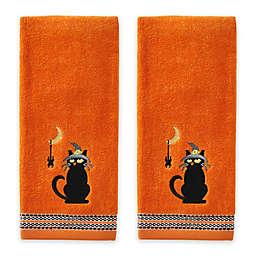 Black Cat and Spider Hand Towels in Orange (Set of 2)