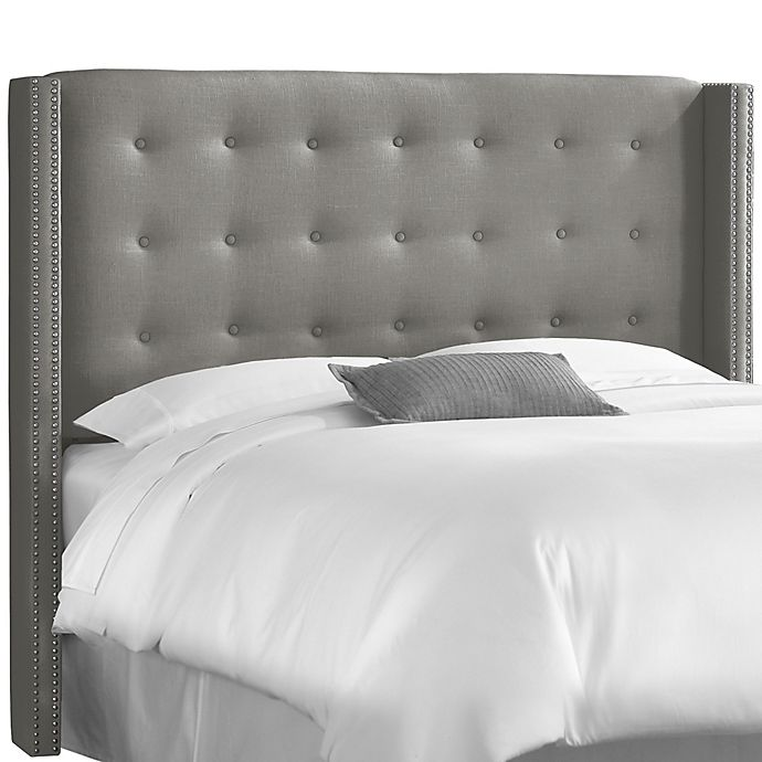 Alternate image 1 for Skyline Furniture Queen Nail Button Tufted Wingback Headboard in Linen Grey