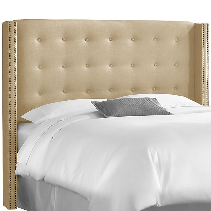 Alternate image 1 for Skyline Furniture Queen Nail Button Tufted Wingback Headboard in Linen Sandstone
