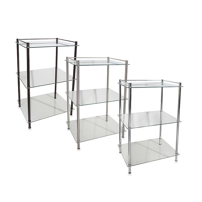 Decopolitan Rectangle Glass 3 Shelf Tower Bed Bath Amp Beyond