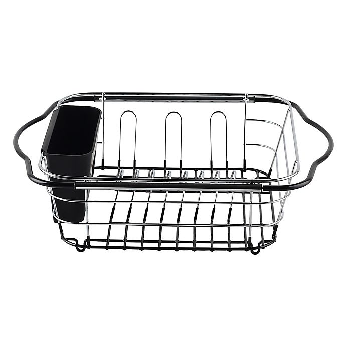 Home Kitchen Dish Glass Holder Storage Expandable Multi-Use Sink Rack Charcoal