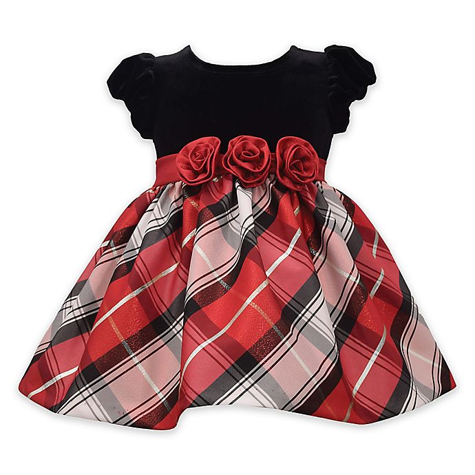 Alternate image 1 for Bonnie Baby 2-Piece Tartan Plaid Dress and Panty Set in Red