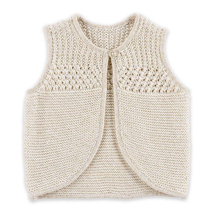 Alternate image 1 for OshKosh B'gosh® Feather Sweater Vest in Cream