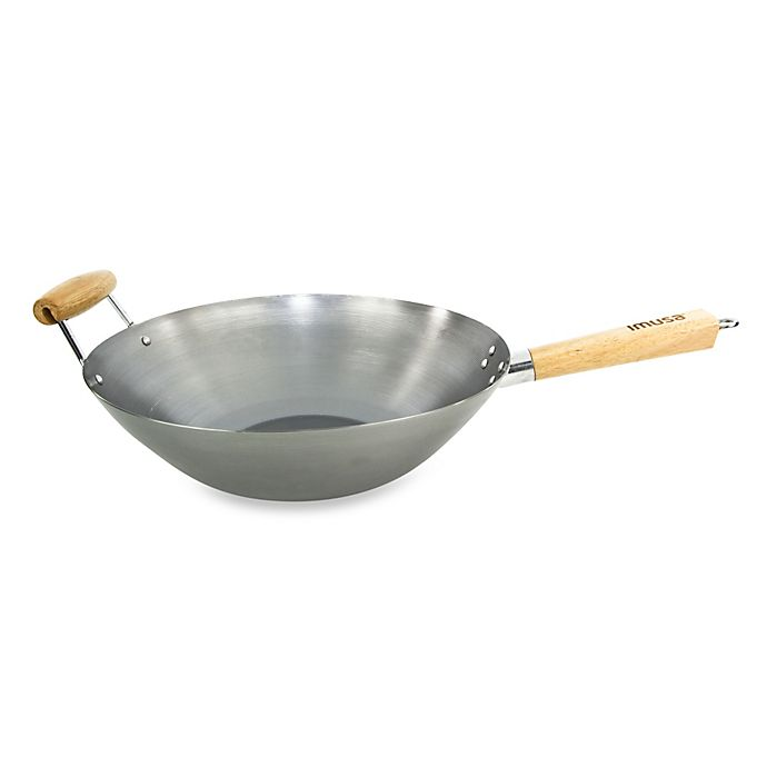 Alternate image 1 for IMUSA® 14-Inch Natural Carbon Steel Wok with Wood Handle