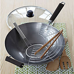 IMUSA® 7-Piece Natural Carbon Steel Wok Set