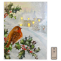 Bird and Holly Tree Battery-Operated LED Wall Art