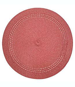 Mantel individual redondo Destination Summer con borde en rojo