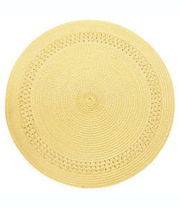 Mantel individual redondo Destination Summer con borde en amarillo sunshine