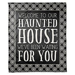Designs Direct Welcome to our Haunted House Throw Blanket in Black