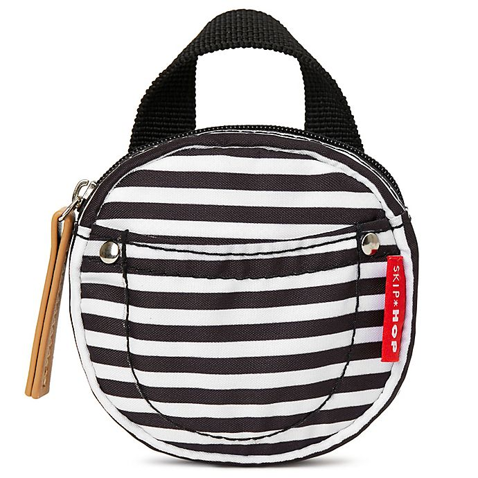 Alternate image 1 for SKIP*HOP® Pacifier Pocket in Black/ White Stripe
