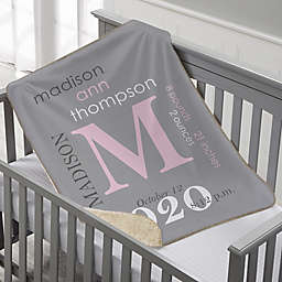 All About Baby Boy Personalized 30-Inch x 40-Inch Sherpa Baby Blanket Collection