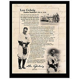 """Lou Gehrig """"Luckiest Man"""" Farewell Speech  8-Inch x 10-Inch Plaque"""
